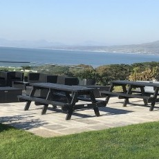 The decking area with views over the bay and the mountains.