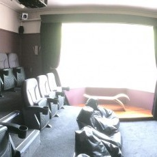 3m screen, surround sound, fast broadband for streaming and genuine cinema seats.